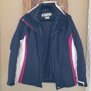Columbia black winter coat jacket with interchange